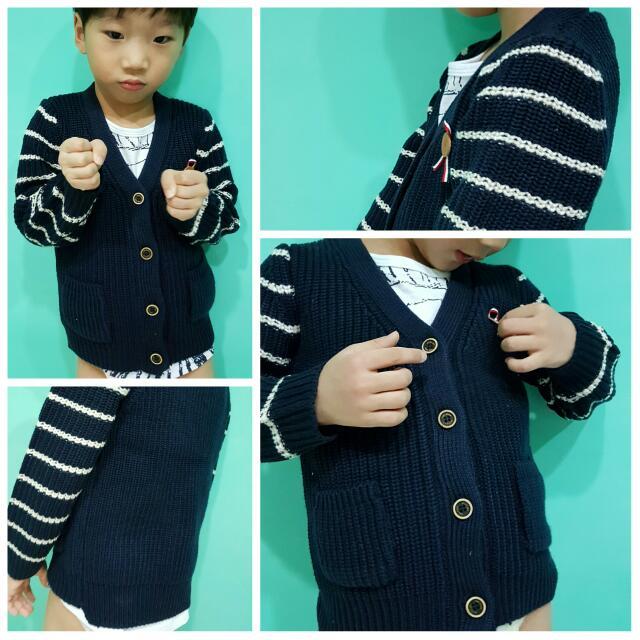 (預購)♥外銷日韓橫條紳士學院風針織小童外套♥