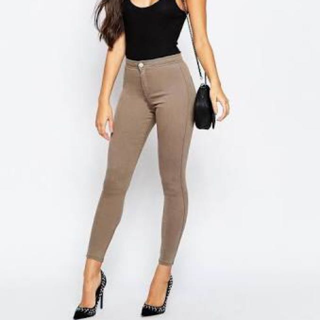 Asos High Waisted Rivington Jeans - Walnut Brown