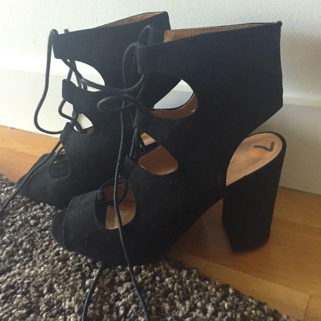 Black Tie Up Lace Heels