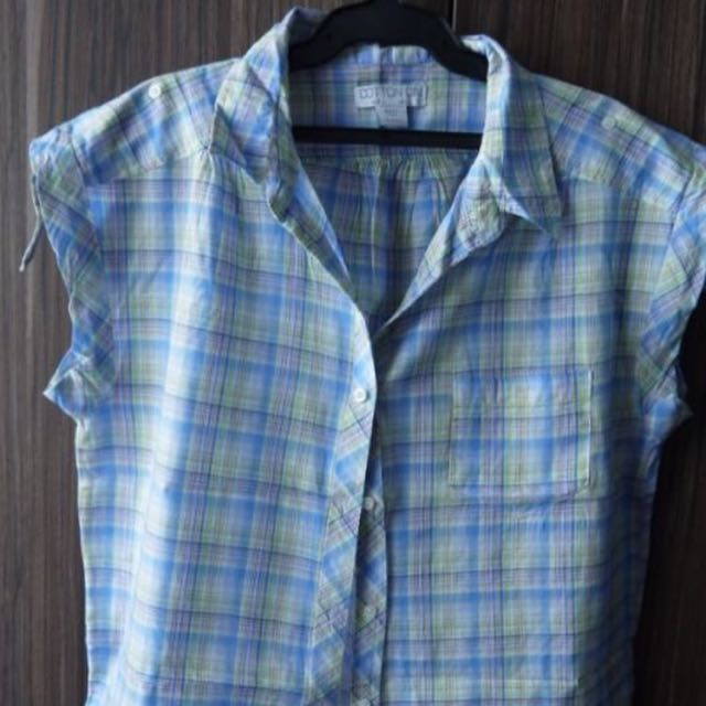 Cotton on Checkered Blouse With Ribbon