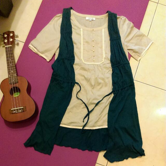 GINKOO森林系杏色上衣➕idea Of Common 墨綠色氣質長背心(二件只賣100)