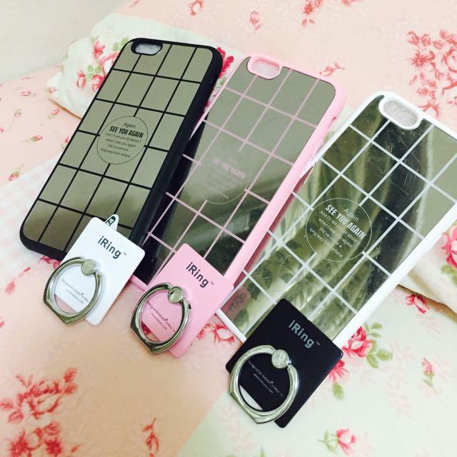 現貨/質感鏡面iphone6手機殼(送指環扣、吊帶)