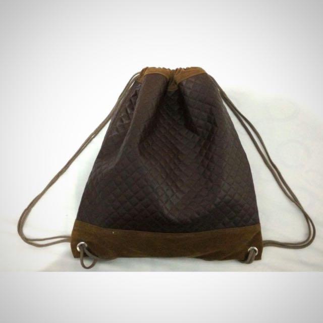 Leather Drawstring Bag (brown)