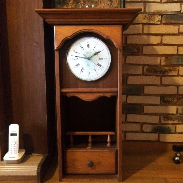 WORKING! Vintage French Wall Clock Wooden Housing