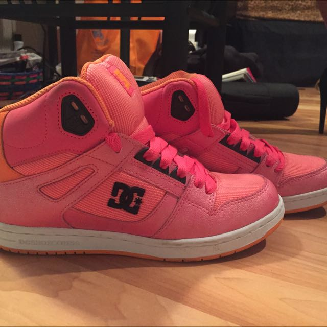 Orange And Pink DC Shoes, Size 8