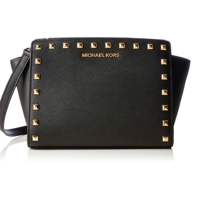ORI MICHAEL KORS Black Studded Medium Selma Bag
