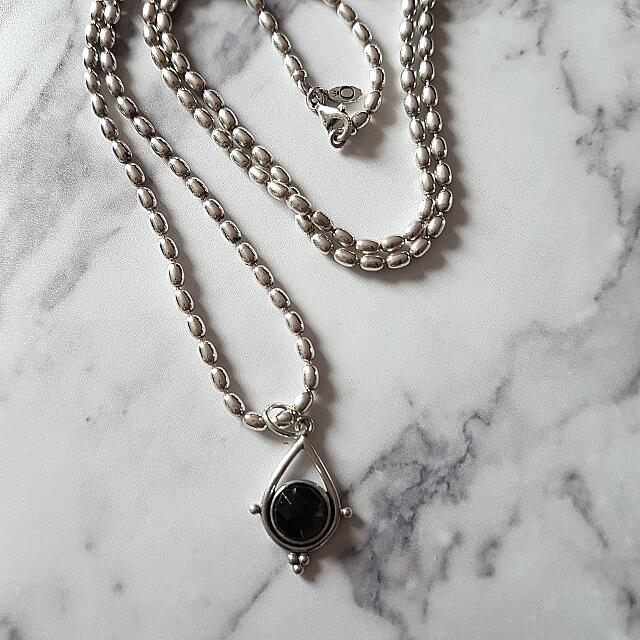 Pandora (Retired & Hard To Find) Sterling Silver And Black Spinel Necklace + Pendant