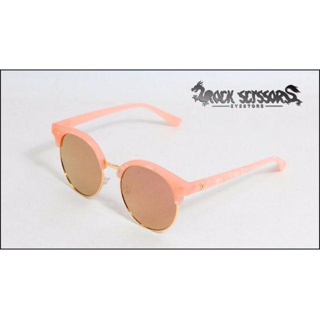 Rock scissors-[韓國製] 歐美街拍 絕美粉紅貝殼紋路 復古鐳射反光 圓框/半框太陽眼鏡