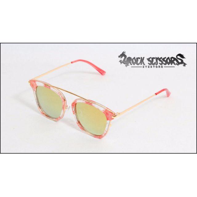 Rock scissors-[韓國製] 英倫街頭雜誌款 透明暈染造型 復古懸空 金屬鼻梁細邊 鐳射反光 方框太陽眼鏡