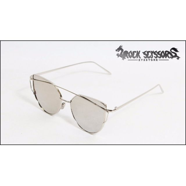 Rock scissors-[韓國製]AES小鬼 黃鴻升著用- 復古潮流 前衛 細邊橢圓框 鐳射反光貓眼太陽眼鏡/墨鏡