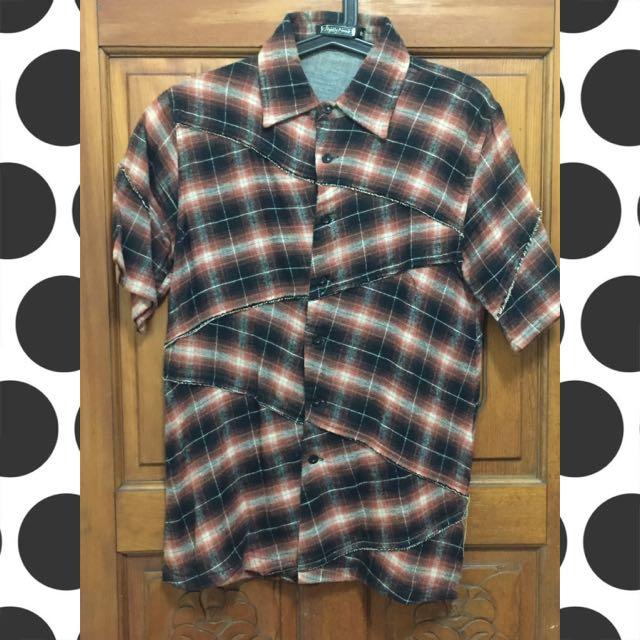 降)Slight Numb 春夏短袖破壞格紋襯衫