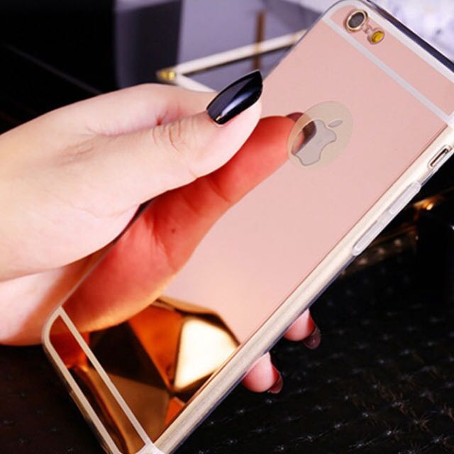 Soft Case for iPhone 5s Clear Silicone Edge + Shinny Pink Mirror Back Cover