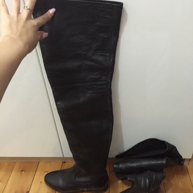 TONY BIANCO LEATHER THIGH BOOTS