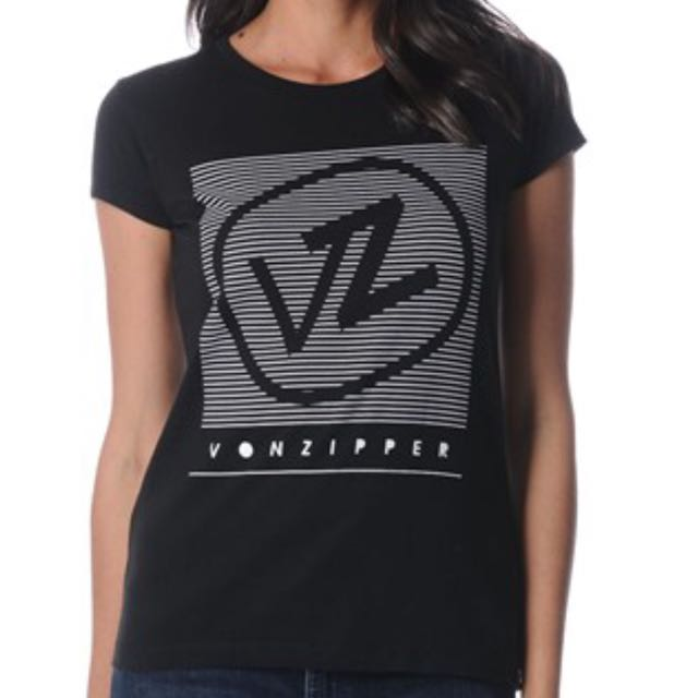 Von Zipper Women's Black Graphic Tee Size 8