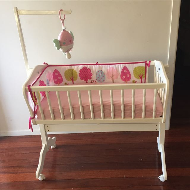 White Wooden Rocking Cradle