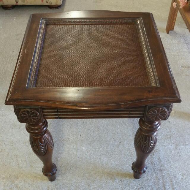 Wooden End Table W/ Hidden Drawer
