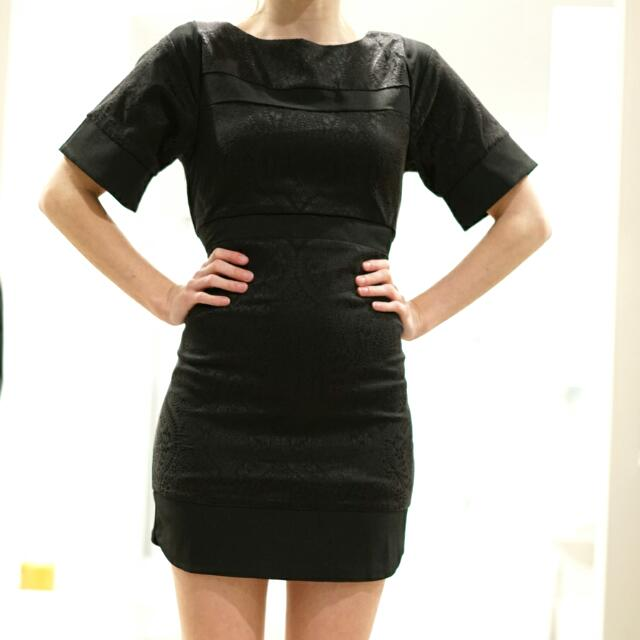 Zalora Black Jacquard Dress XS