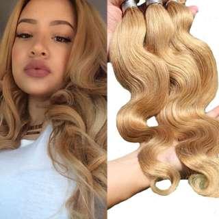 Dirty Blonde wavy Virgin Human hair Extensions
