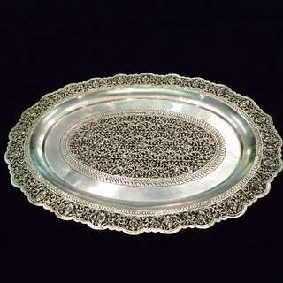 Vintage - oval silver-plated tray set