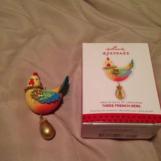Three French Hens Discontinued Decoration