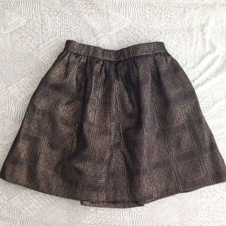 Bronze Detailed A-line Skirt