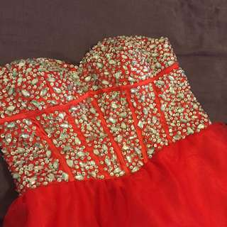 Red Strapless Corset Dress