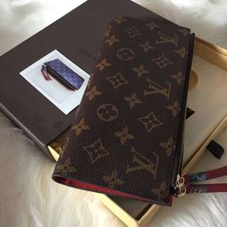Adele Zippy Wallet Red Chilli M61287 Louis Vuitton Paris France Thin Compact Card Holder Wallet Brown Monogram Designer Replica