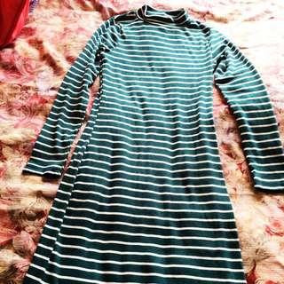 Green N White Stripe Dress