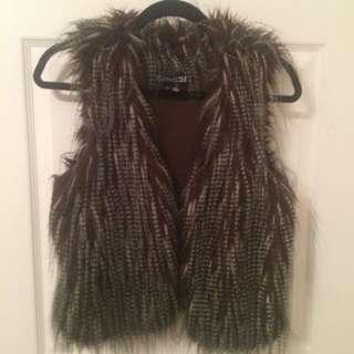 Faux-bird Feather/fur Vest