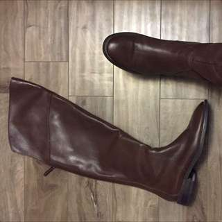 Genuine Leather Nine West Knee High Boots Size8.5 Rich Brown