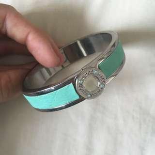 Mimco Aqua Leather Band Bracelet