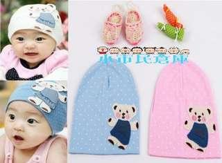 小市民倉庫~韓款~立體小熊兒童帽子~全棉拉毛套頭~帽卡通純棉寶寶帽子~拍照必備~3色發售