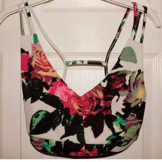 Strappy Flower Print Bra Top