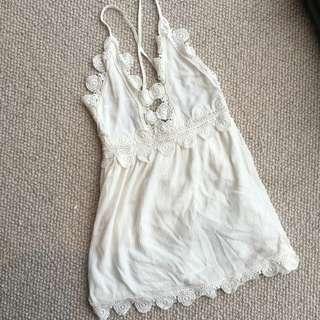 White Low/Cross Back Summer Dress Size 8