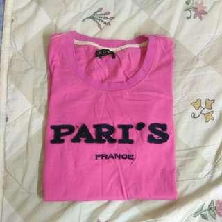 PARI'S 粉色長袖上衣/長T