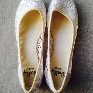 White Lace Ballet Flats New