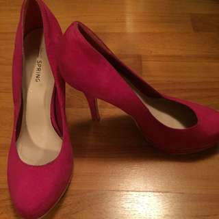 Fuchsia Pink Suede Heels Call It Spring
