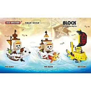 One Piece Anime Pirate Ships n Action Figures Nano/Micro Blocks