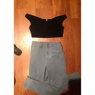CROP TOP AND HIGH WAISTED JEANS