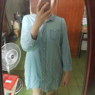Lowrys farm collect point 波茵特 淺藍純色長版襯衫
