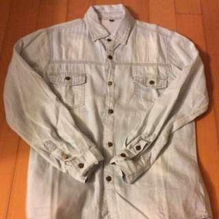 韓版 牛仔襯衫