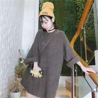 韓版 素色蝙蝠袖卡其針織毛衣