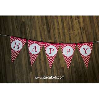 DECORATED BIRTHDAY FLAG ( Red & White )
