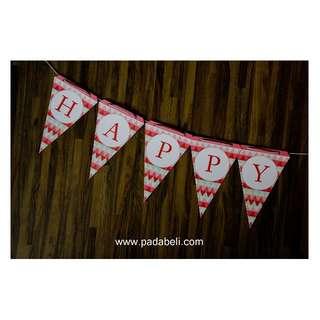 DECORATED BIRTHDAY FLAG ( Pink & White )