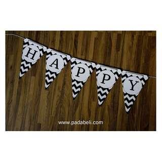 DECORATED BIRTHDAY FLAG ( Black & White )
