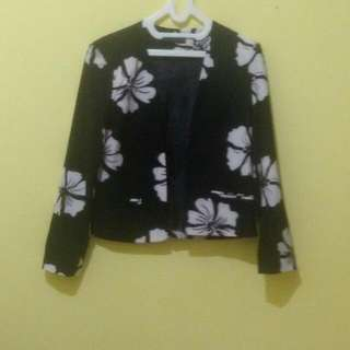 Black White Flower Blazer
