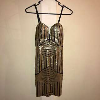Gold Sequin Bodycon Mini Dress