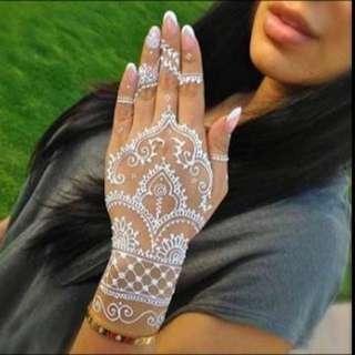 White Henna Mehendi Cones Bodypaint