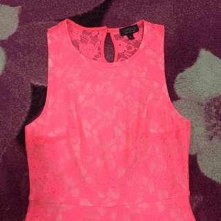 Topshop Shocking Pink See Through Back Dress