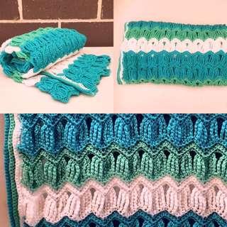 Sea Breeze Vintage Ripple Blanket